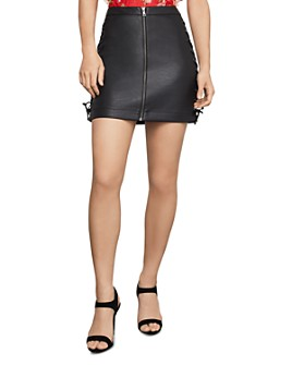 BCBGMAXAZRIA -  Lace-Up Faux Leather Mini Skirt