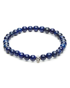 LINK UP - Lapis Bead & Skull Charm Stretch Bracelet