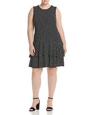 Michael Michael Kors Plus Sliced Dot Flounced Dress