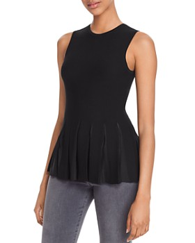 Theory - SleevelessPleated-Peplum Top