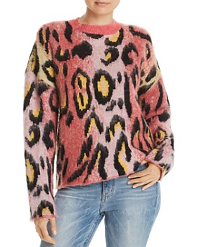 AQUA - Brushed Leopard Print Sweater - 100% Exclusive