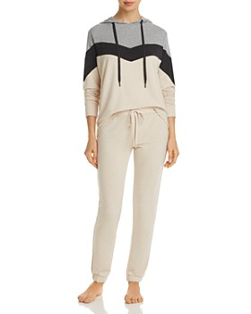 PJ Salvage - French Terry Color-Blocked Chevron Hoodie & Raw-Edge Pants