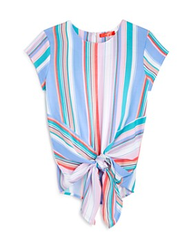 AQUA - Girls' Striped Knotted Top, Big Kid - 100% Exclusive