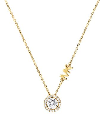 """Michael Kors - Pavé Pendant & Logo Chain Necklace in 14K Gold-Plated Sterling Silver, 14k Rose Gold-Plated Sterling Silver or Sterling Silver, 18"""""""