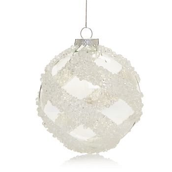 Bloomingdale's - Silver Textured Glass Ball Ornament - 100% Exclusive