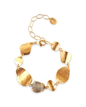 Chan Luu - Stone & Waved Disc Station Bracelet in 18K Gold-Plated Sterling Silver or Sterling Silver