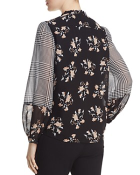 Calvin Klein - Mixed-Print Button-Front Blouse