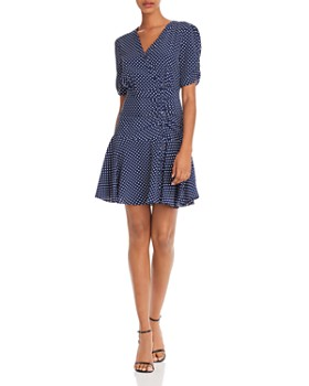 AQUA - Button-Front Polka Dot Dress - 100% Exclusive