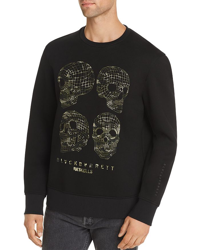 BLACKBARRETT by Neil Barrett - Long-Sleeve 3-D Skulls Sweatshirt