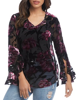 Karen Kane - Ruffle-Sleeve Burnout Top