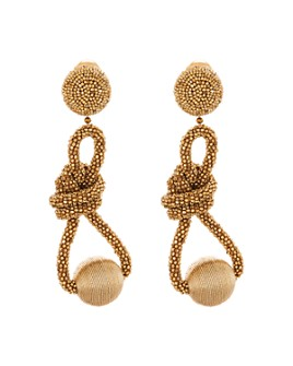 Oscar de la Renta - Beaded Knot Clip-On Drop Earrings