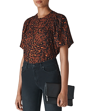Whistles Brushed Leopard Print Top