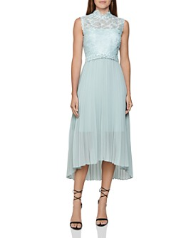 REISS - Aideen Mixed-Media Pleated Midi Dress