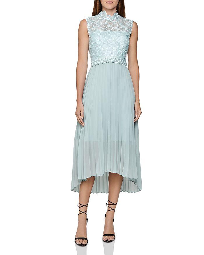 REISS - Aideen Mixed-Media Pleated Midi Dress