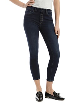 Mavi - Tess Tribeca Button-Fly Cropped Jeans in Deep Blue