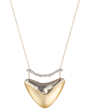 Alexis Bittar Accessories CRYSTAL BAR SHIELD PENDANT NECKLACE, 16