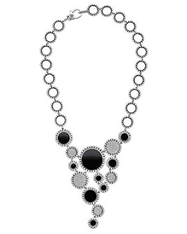 LAGOS - Sterling Silver Maya Diamond & Black Onyx Statement Bib Necklace, 18""