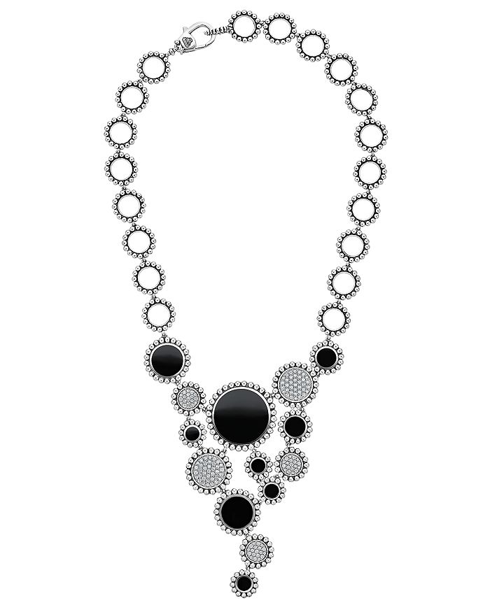 "LAGOS - Sterling Silver Maya Diamond & Black Onyx Statement Bib Necklace, 18"""