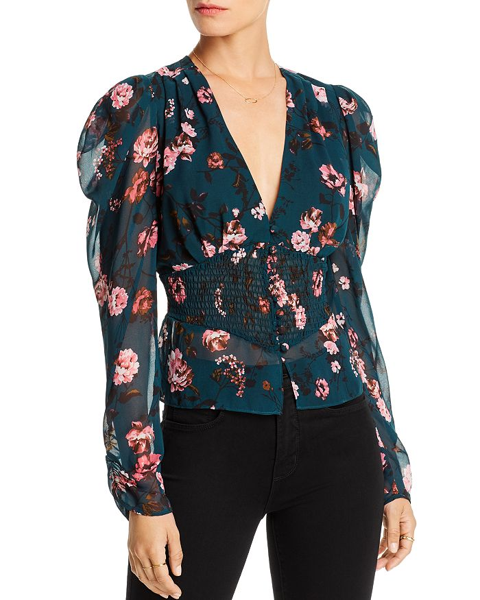 LINI - Nora Puff-Sleeve Floral Smocked Top - 100% Exclusive