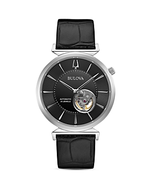 Regatta Slim Black Leather Strap Watch