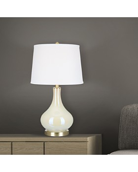 """Cresswell - 25"""" White Iridescent Glass Table Lamp"""