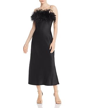 Cinq À Sept Dresses CINQ A SEPT CERISE FAUX FEATHER & SILK DRESS