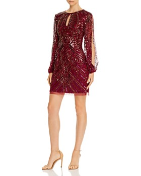 Aidan Mattox - Split-Sleeve Sequined Dress