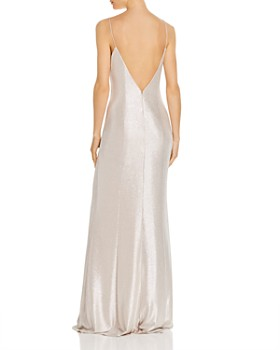 Aidan by Aidan Mattox - Foil Jersey Cowl-Neck Gown