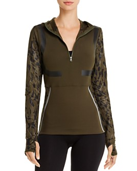 adidas by Stella McCartney - Run Leopard-Sleeve Hooded Top