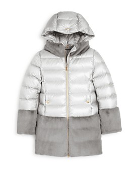 Herno - Girls' Faux-Fur Color-Block Puffer Coat - Big Kid
