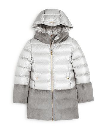 Herno - Girls' Faux-Fur Color-Block Puffer Coat - Big Kid