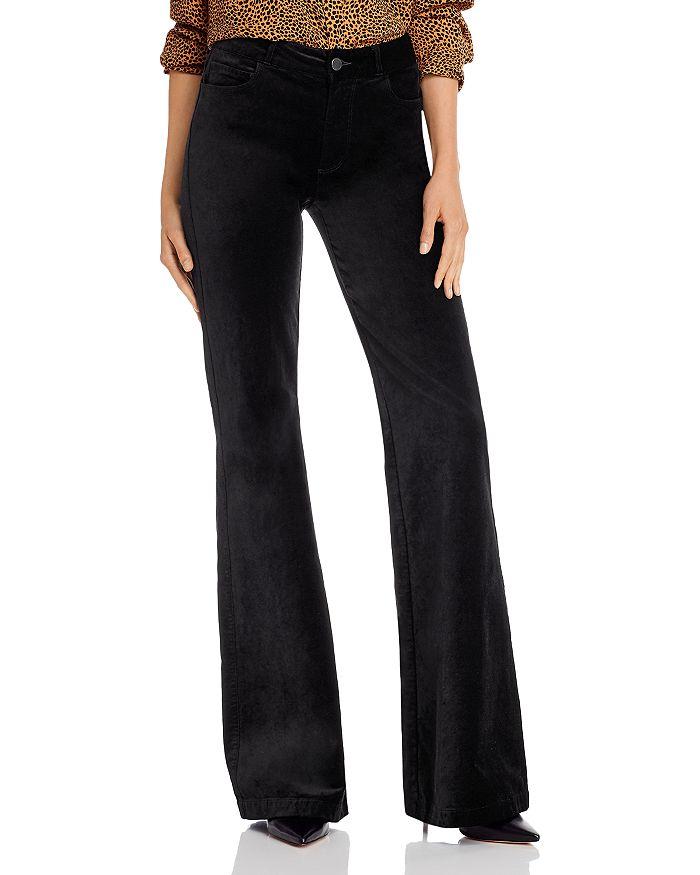 PAIGE - Genevieve Flared Velvet Jeans in Black