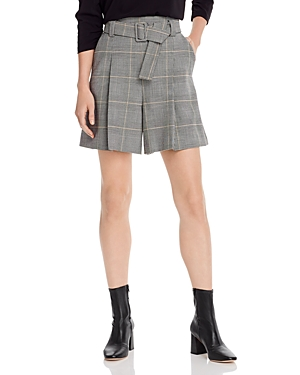 Marella Marotta Belted Plaid Mini Shorts