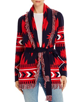 Minnie Rose - Fringed Belted Duster Cardigan
