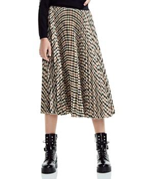 Maje - Johnny Pleated Plaid Midi Skirt