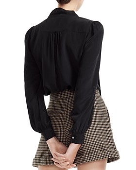 Maje - Loisa Shirred Tie-Detail Silk Blouse