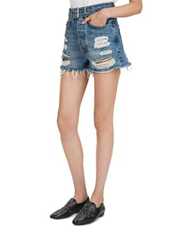 The Kooples - High-Rise Destroyed Denim Mini Shorts in Blue Washed