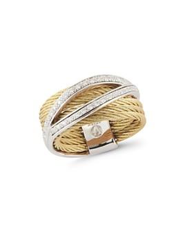 ALOR - Classique Pavé Diamond-Detail Cable Ring