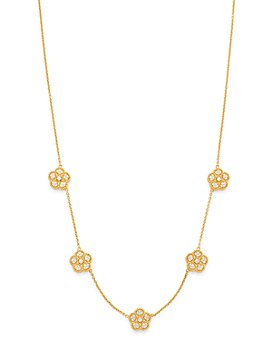 """Roberto Coin - 18K Yellow Gold Daisy Diamond Station Necklace, 17.5"""" - 100% Exclusive"""