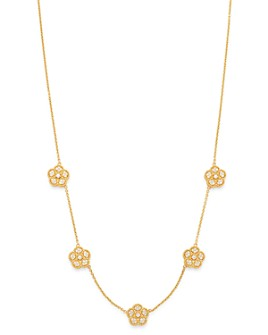 "Roberto Coin - 18K Yellow Gold Daisy Diamond Station Necklace, 17.5"" - 100% Exclusive"