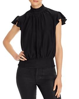 FRAME - Ruffled Smocked Silk Top