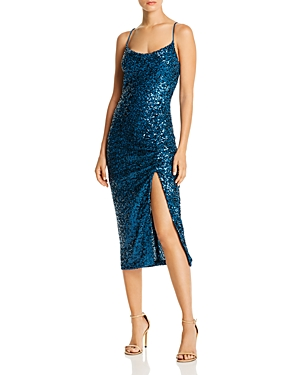 Aqua Sequined Ruched Dress - 100% Exclusive