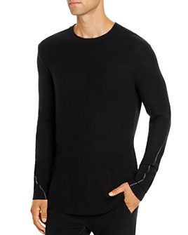 thom/krom - Long-Sleeve Contrast-Stitched Lightweight Fleece Tee