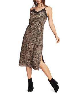 1.STATE - Leopard Print Slip Dress