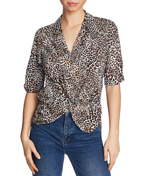 1.STATE - Leopard Print Twist-Front Blouse