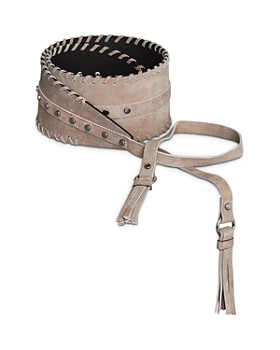 BCBGMAXAZRIA - Tie-Front Tassel Nubuck Leather Belt