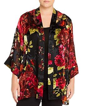 Maree Pour Toi Plus - Floral Burnout Kimono Cardigan