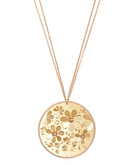 """Bloomingdale's - Flower Disc Pendant Necklace in 14K Yellow & Rose Gold, 28"""" - 100% Exclusive"""