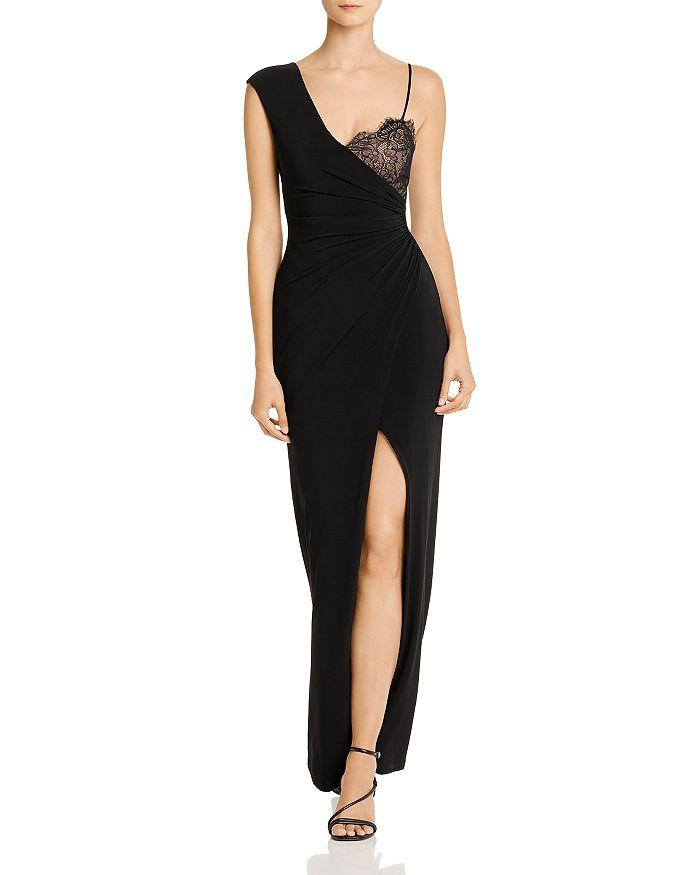 BCBGMAXAZRIA - Asymmetric Lace-Detail Combo Gown