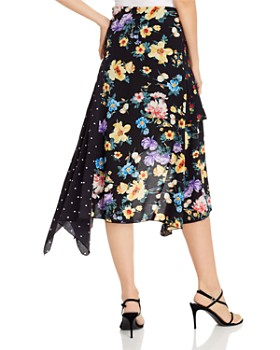 AQUA - Mixed-Print Handkerchief-Hem Skirt - 100% Exclusive